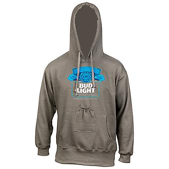 Bud Light Bottle Label Grey Beer Pouch Hoodie