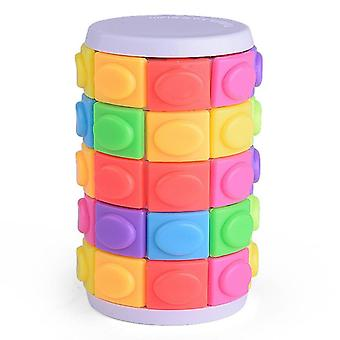 Children Color Cylindrical Puzzle Sliding 3d Magic Cube- Puzzle Decompression