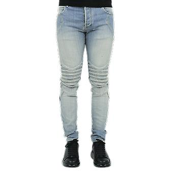 Balmain Slim Embossed Jeans-Light Blue Blue UH05106Z2216AA Pants