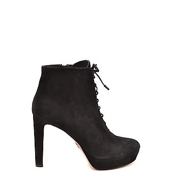 Prada Ezbc021051 Women's Black Suede Ankle Boots