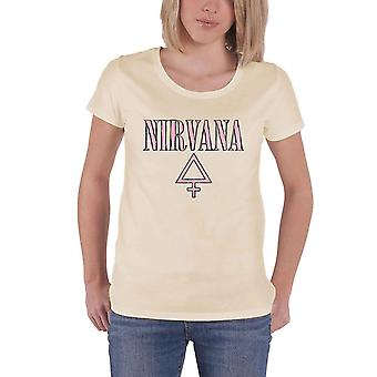Nirvana T Shirt Femme Band Logo new Official Womens Skinny Fit Sand