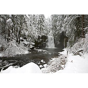 A Waterfall In To A River In Winter PosterPrint