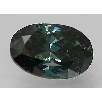 Cert 1.18 Karat Fancy Vivid Blue VS1 Oval Enhanced Natural Diamond 8.18x5.51mm