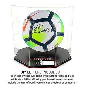 OnDisplay Deluxe Octagon Personalized UV-Protected Basketball/Soccer Ball Display Case - Black Base