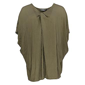 Martha Stewart Women's Top Knit Twist Front Dolman Sleeve Green A307718