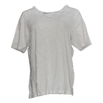 Belle by Kim Gravel Women's Top Slub Knit Pom-Pom V-Neck White A351260