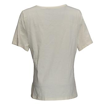Denim & Co. Top Short-Sleeve donna con rifiniture in pizzo Avorio A367908