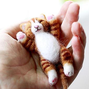 Ysz lazy ginger kitten needle felting kits lying in hands - needles, finger guards, black high-densi