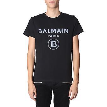 Balmain Sh01601i2560pa Mænd's Black Cotton T-shirt