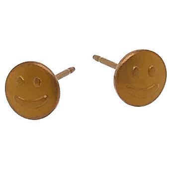Ti2 Titanium Smile 6mm Stud Earrings - Tan Beige