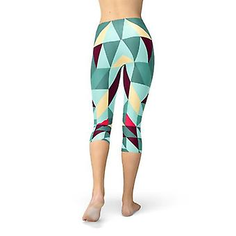 Womens Capri Leggings W/ Geometric Triangles