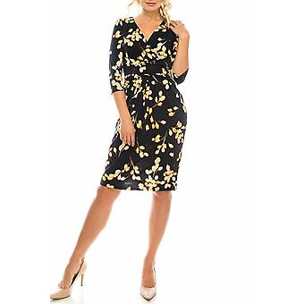 Floral Crepe Floral Jersey Surplice Dress
