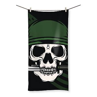 Skull with bayonet  beach towel
