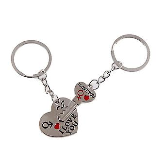 I Love You Silvery Letter Heart Couple Keychain