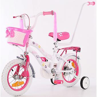 Barncykel med sidohjul - med push bar - vit med rosa kattunge -