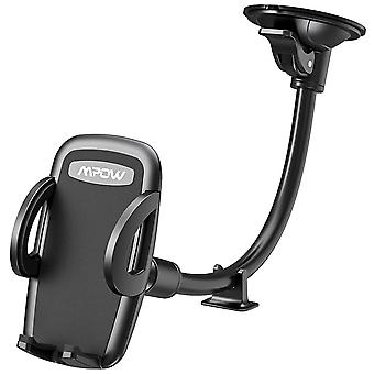 Car phone holder, mpow windscreen car phone mount with extra dashboard base and long flexible arm ca