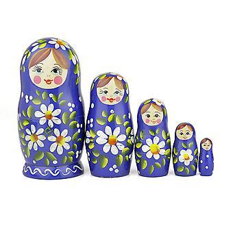 Heka naturals rosyjski lalki gniazdowania, 5 tradycyjnych matryoshka romashka stylu | babushka drewniane lalki