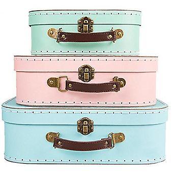 3 Storage Suitcase Retro Pastel | Sass & Belle Box Decorative Cases Home Gift