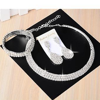 Wedding Bridal Jewelry Sets, Necklace, Bracelet, Crystal Long Earring Set