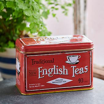Vintage red tea tin with 40 english breakfast teabags