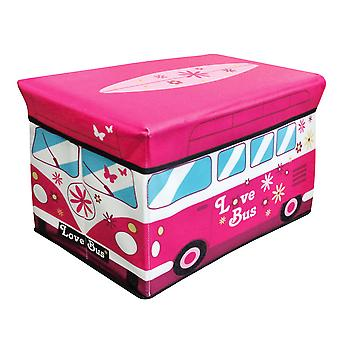 Childrens/Girls Pink Campervan Folding Storage Chest