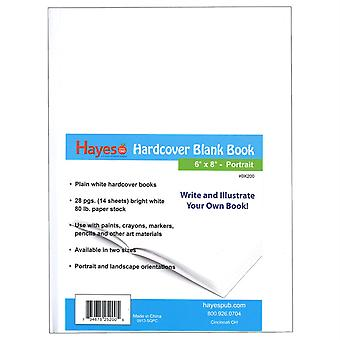"""Hardcover Blank Book, White, 28 Pages (14 Sheets), 6""""W X 8""""H"""