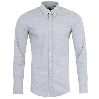 BOSS Rod Washed Cotton Slim Fit Shirt - Grey