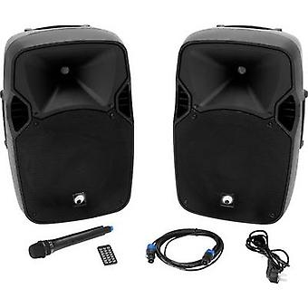 Omnitronic XFM-212AP Active PA speaker set Bluetooth, incl. microphone, Casters