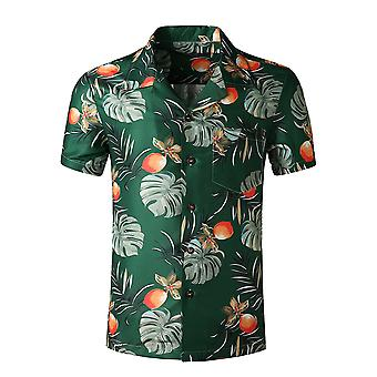 Yunyun Men's Vogue Printed Floral Tropical Style Buttoned Summer Short-sleeved Shirt