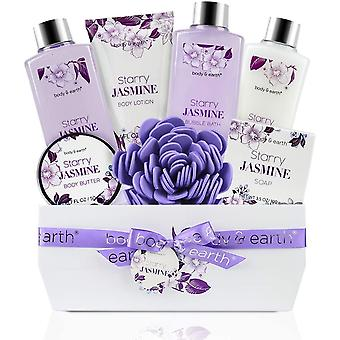 BODY & EARTH Bath and Body Gift Baskets, Mothers Day Gifts 8 Pcs Bath Spa Set Jasmine Scented