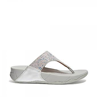 FitFlop Lulu Glitter Splash Dames Wide Fit Toe Post Sandalen Zilver