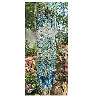 Blue Aurora Crystal Wind Chimes Glass Suncatcher Hanging Ornament Home Garden Decoration