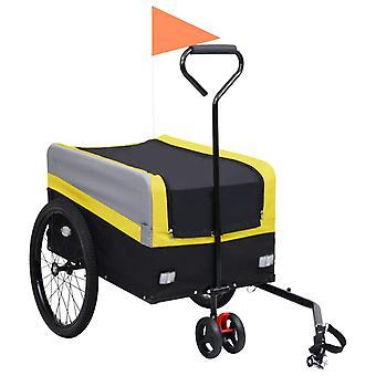 vidaXL 2-en-1 XXL Remorque &Trolley Jaune Gris Noir