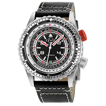 GV2 Contasecondi Men's Black/Red Dial Black Calfskin Leather Watch