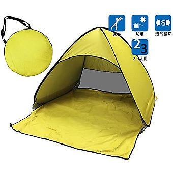 Portable Automatic Pop Up Beach Canopy Sun UV Shade Shelter Outdoor Camping Tent Outdoor (yellow)