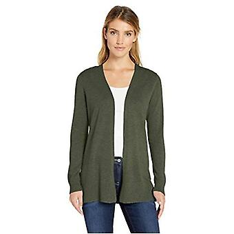 Essentials Women's Lightweight Open-Front Cardigan Sweater, Olive, Small