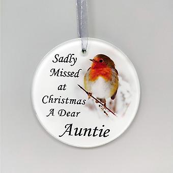 David Fischhoff Robin Glass Memorial Hanging Ornament 9cm - Auntie