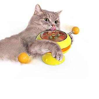 Windmill Toys For Cats Puzzle Whirling Turntable Play Game Toys Training Kitten (yellow)