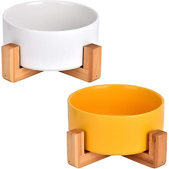 2*Keramik Katzennäpf Keramik Hunde Futternapf mit Bambus Halter Keramik Fressnapf Wassernapf Keramik