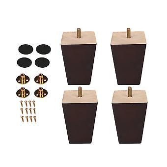 4 x Square Wood Furniture Chair Couch Leg 10x7x5cm Home Replacement Part