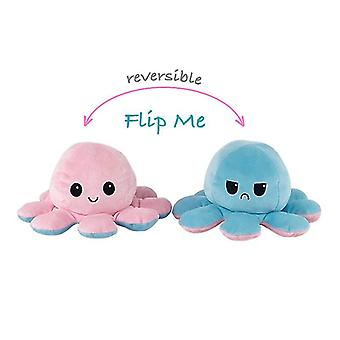 Käännettävä mustekala Plushie Kaksipuolinen Flip Doll Show Mood -lelu (vaaleanpunainen vaaleansininen)