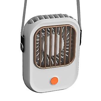 usb portable handheld fan, hanging neck pocket lazy fan(White)