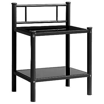 vidaXL السرير الجدول الأسود 45x34,5x60,5 سم المعادن والزجاج