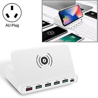 Rozhraní USB 828W 7 v 1 60 W QC 3.0 + 4 porty USB + rozhraní USB-C / typ C + bezdrátové nabíjení