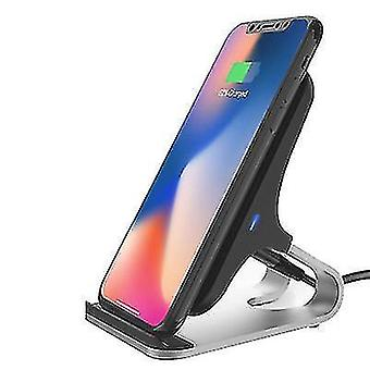 Qi 15W Fast Wireless charger Induction Desktop Chargers Charging stand(Black And Silver)