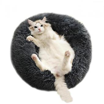 Dog Kennel, Round Kennel, Long Fur Kennel, Donut-shaped Dog Bed, Round Bird Nest, Soft Plush Cat Carpet, With Cozy Sponge Slippid, Suitable For Small