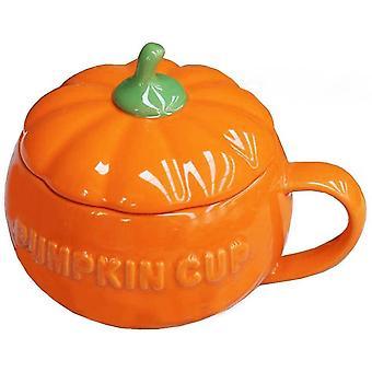 Schattige pompoen cup keramiek koffie mok melk cup met deksel Halloween