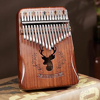 Kalimba 17 Keys Thumb Piano With Musical Scorebook Learning Booklet Tune Hammer Carring Bag