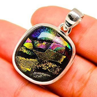 """Dichroic Glass Pendant 1"""" (925 Sterling Silver)  - Handmade Boho Vintage Jewelry PD8791"""