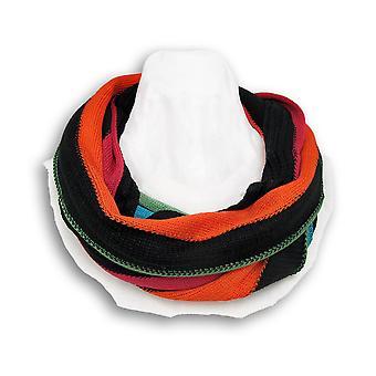 Svart/Multi stripete strikk Infinity skjerf